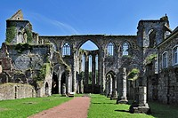 Ruins of the Aulne Abbey, a Cistercian monastery at Thuin, Hainaut, Belgium