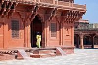 The Ibadat Khanna / Diwan_i_Khas, Hall of Private Audience at Fatehpur Sikri in Uttar Pradesh, India
