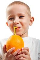 Drinking orange fruit