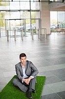 Businessman relaxing on grass mat in an office lobby