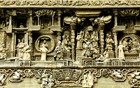 Chinese old story stone carving with group people.