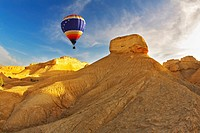 The decorative balloon above stone desert