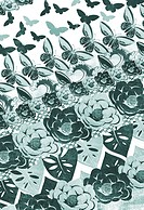 Repeating pattern of butterflies and flowers