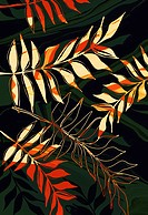 Orange tropical leaves