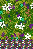 Colorful design tropical flowers and foliage