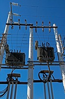 electric transformer, Santorini, Greece
