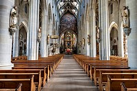 Interior view of the Church of St. Nikolaus in Ueberlingen, Bodenseekreis district, Baden-Wuerttemberg, Germany, Europe