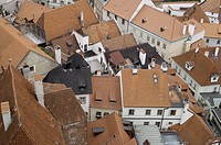 Rooftops of historic city of Cesky Krumlov,