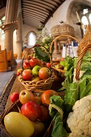 Fresh Food On Display On A Table For Harvest Festival, Kelso Scottish Borders Scotland