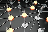 Activated nodes in a social network  3D rendered Illustration