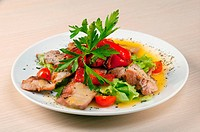vegetarian Salad with pork, pepper paprika