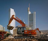 Bulldozer in front of high rise, Frankfurt am Main, Hesse, Germany, Europe