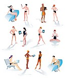 Twelve characters of young and cool men and women in swimsuits and making use of tech gadgets such as smartphones, laptops and digital tablets  Each o...