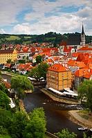 Vltava River And The Old Town, Chesky Krumlov Jihocesky Czech Republic