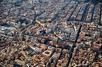 Cityscape of Palermo with Opera house Teatro Massimo, Sicily, Italy, aerial photo