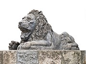 A traditional sculpture of a lion