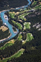 High Angle Of Banff Springs Golf Course Along The Bow River, Banff Alberta Canada