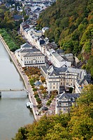 High angle view of a bridge crossing the river lahn and buildings along the water´s edge, bad ems rheinland_pfalz germany