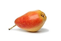 Ripe juicy pear on white background
