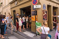 Paris, France, People Queuing for Ice Cream on a Hot day on a Street on the Ile Saint Louis