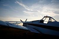 Aeroplane in low sun