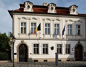 Prague, Belgian Embassy at Valdstejn Street, Eu flag, Belgian flag, late Baroque architecture CTK Photo/Josef Horazny