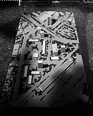 A_L: Exteriors of model. A: Eye level view of model scene from negative, B: from negative, C: Aerial view of models from negative, D: Similar to A, op...