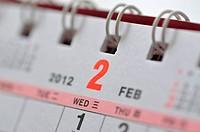 February of 2012 calendar