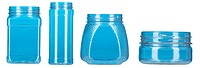 group of blue plastic bottle isolated