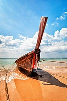 Wooden traditional boat on the beach _ Thailand