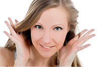 Bright picture of smiling woman face with hand her hear