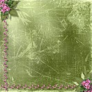 Green abstract background with floral beautiful bouquet and beads
