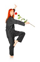 Wushu Woman With Red Rose