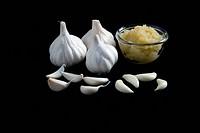 garlic against black background