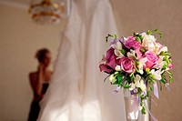 bride, bouquet and wedding dress