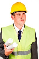 Male architect holding plans and wearing a hard hat