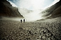 Hikers trekking through the Mutnovsky Volcano, Kamchatka, Russia