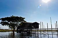 A stilt house, Inle Lake, Burma