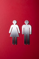 Female and male restroom sign figures side by side (thumbnail)