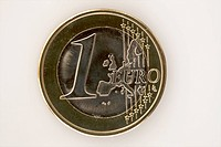 A one Euro coin, close_up