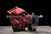 Shopping basket of car parts