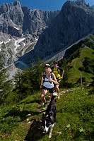 Trailrunning, Trail running, Trail, Ramsau, Dachstein, Styria, Austria, couple, woman, man, meadow, running, walking, run, mountains, mountain run, do...