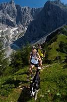 Trailrunning, Trail running, Trail, Ramsau, Dachstein, Styria, Austria, couple, woman, man, meadow, running, walking, run, mountains, mountain run, do...