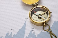 A pocket compass on top of a line graph of financial figures