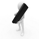3d man with mobile phone