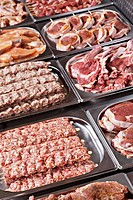 Trays of meat