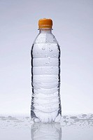 A full plastic water bottle