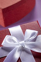 Close_up of a white bow and ribbon on a gift box