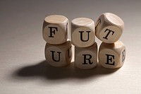 Lettered cubes stacked to spell the word future (thumbnail)