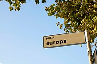 Sign for Europa piazza